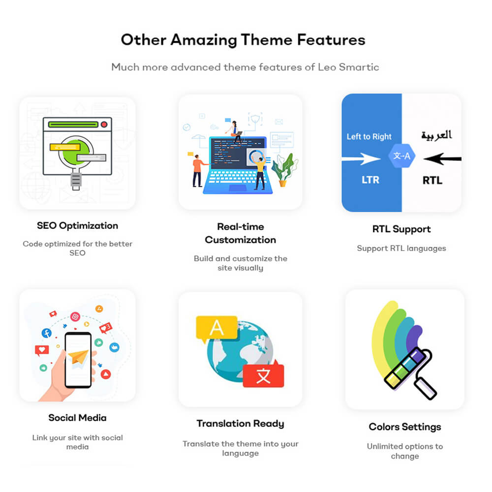 Other Amazing Theme Features Much more advanced theme features of Leo Smartic