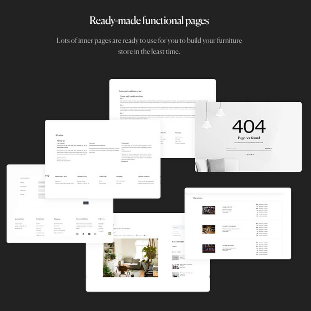 Ready-made functional pages