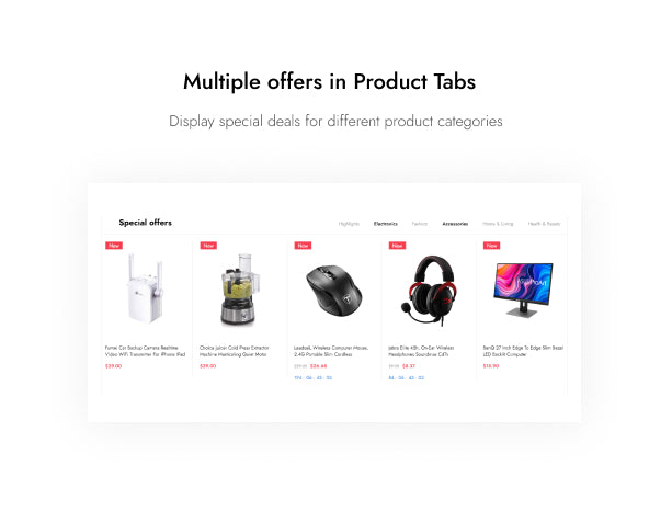 Multiple offers in Product Tabs