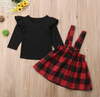 Black long-sleeved plaid strap dress two-piece set