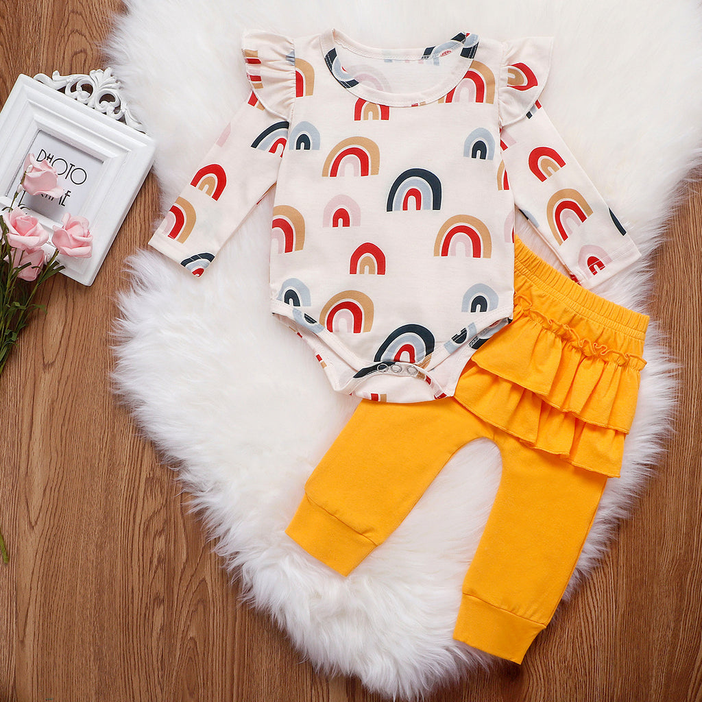 2-Piece Rainbow Jumpsuit & Yellow Pants