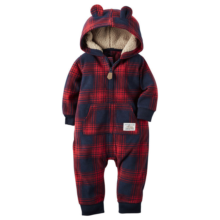 Long-Sleeved Fleece Baby Clothes Romper