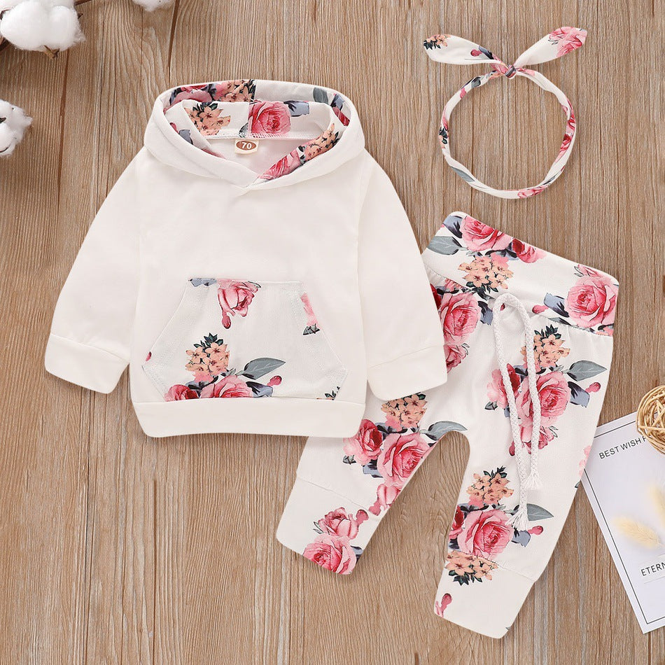 Girls hooded top floral three-piece suit