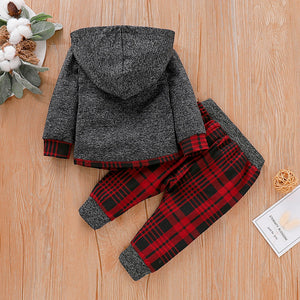 Boys 2-Piece Plaid Hoodie & Pant Set
