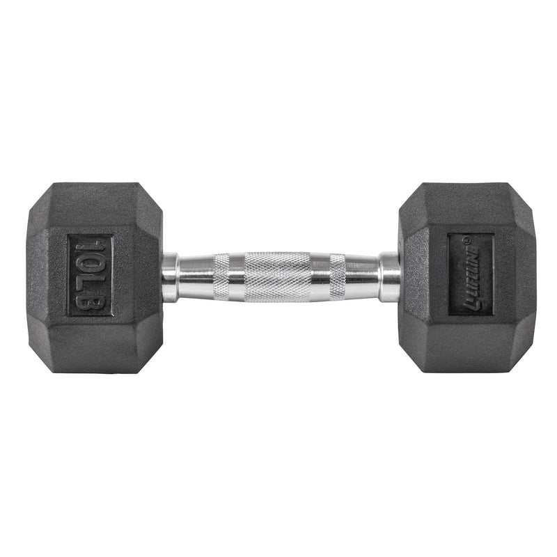 Lifeline Hex Rubber Dumbbell - 10 LBS_13