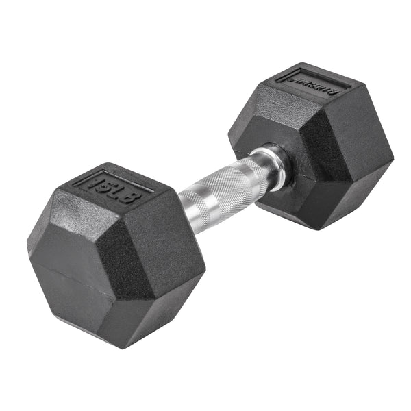 Lifeline Hex Rubber Dumbbell - 15 LBS_1
