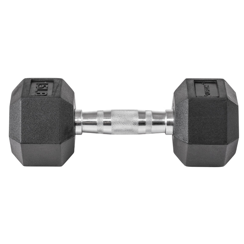 Lifeline Hex Rubber Dumbbell - 15 LBS_2