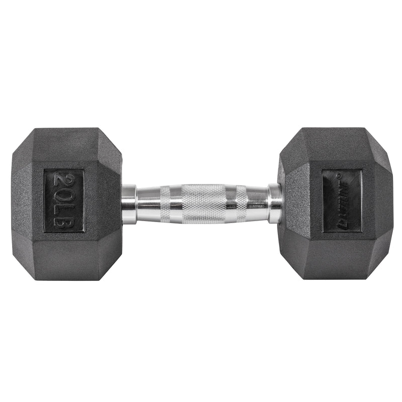 Lifeline Hex Rubber Dumbbell - 20 LBS_2