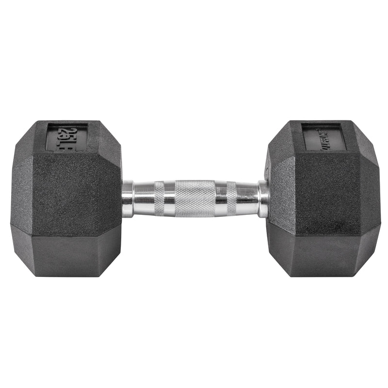 Lifeline Hex Rubber Dumbbell - 25 LBS_2