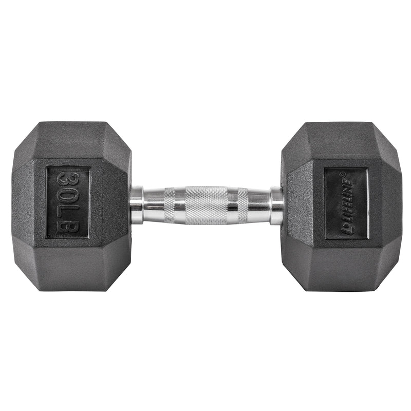 Lifeline Hex Rubber Dumbbell - 30 LBS_2