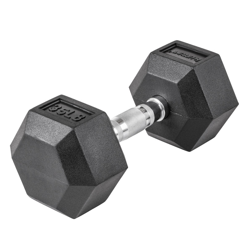 Lifeline Hex Rubber Dumbbell - 35 LBS_5