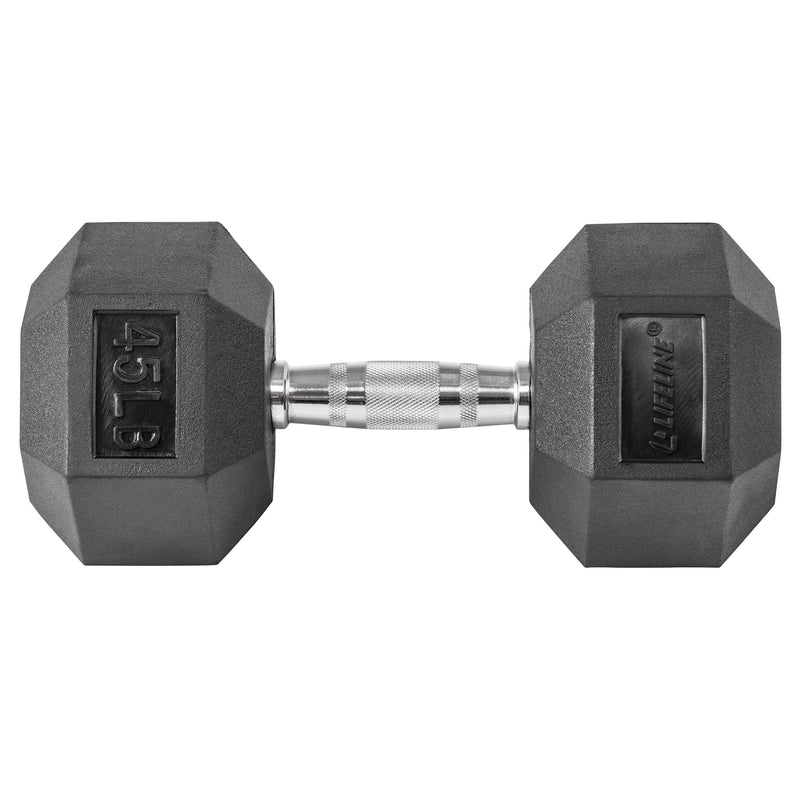 Lifeline Hex Rubber Dumbbell - 45 LBS_11