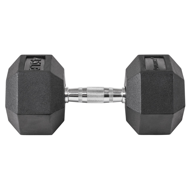 Lifeline Hex Rubber Dumbbell - 45 LBS_5