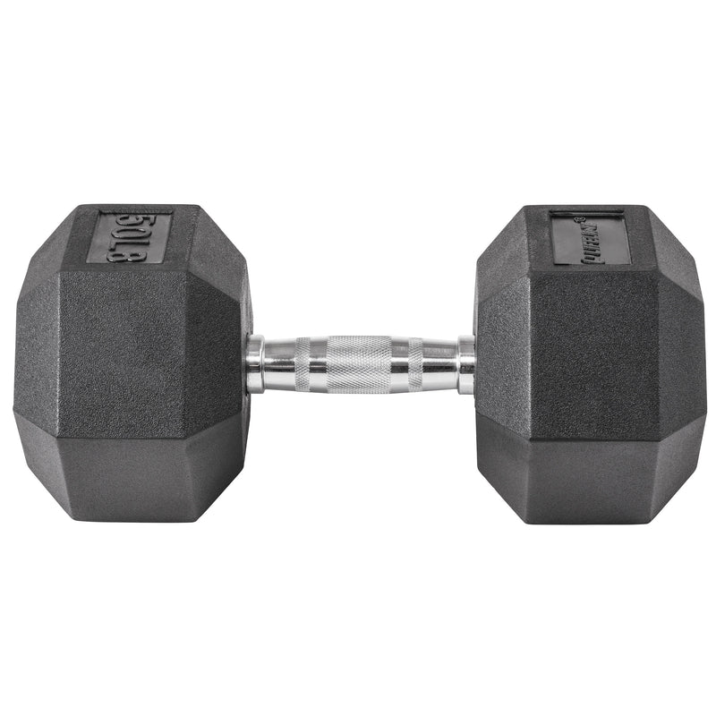 Lifeline Hex Rubber Dumbbell - 50 LBS_2
