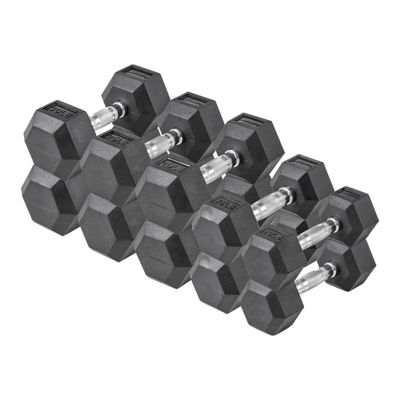 Lifeline Hex Rubber Dumbbell Set - 200 LBS_5