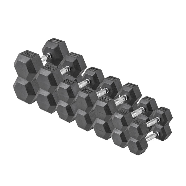 Lifeline Hex Rubber Dumbbell Set - 380 LBS_1