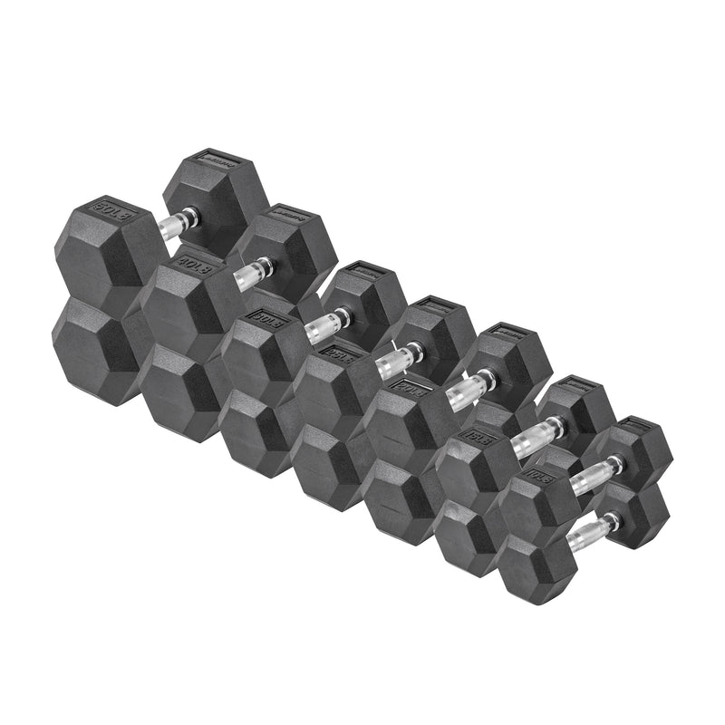 Lifeline Hex Rubber Dumbbell Set - 380 LBS_6