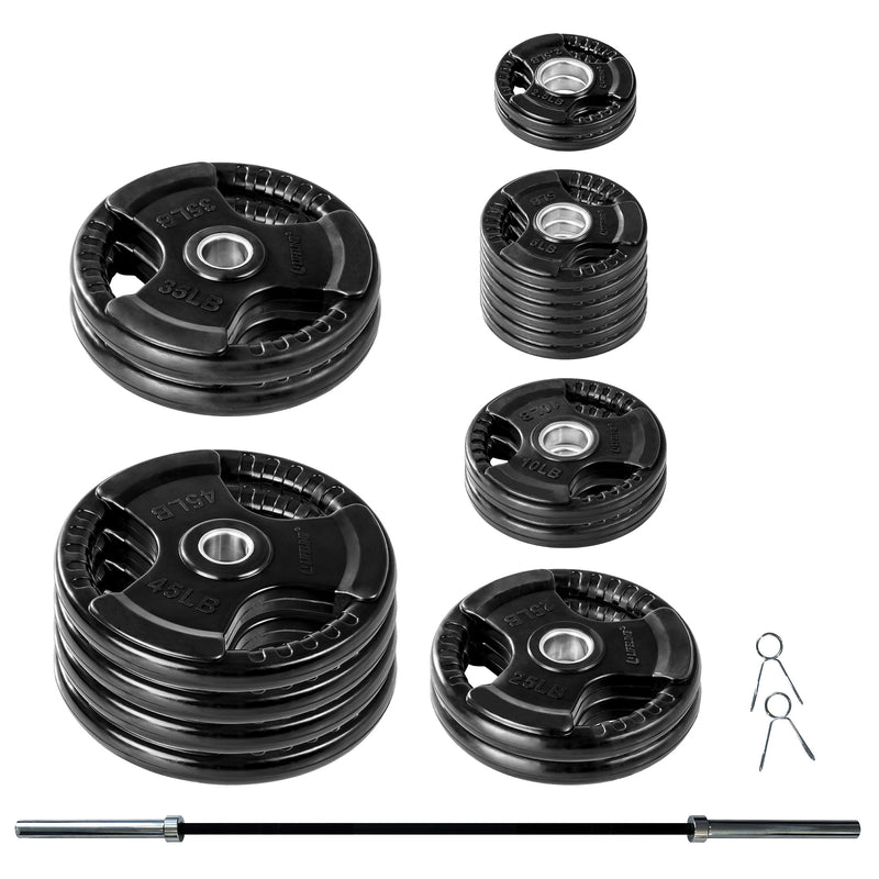 Lifeline Olympic Rubber Grip Plate Set - 400 LBS_1