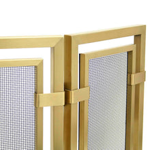 Load image into Gallery viewer, Pilgrim Sinclair Tri Panel Brass Fireplace Screen