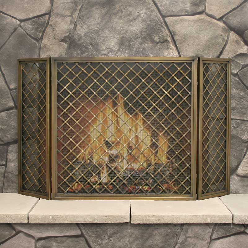 Pilgrim 3 Panel Hartwick Screen - Antique Brass