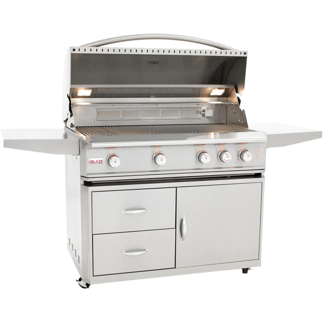 Blaze Professional 44-Inch 4-Burner Gas Grill With Rear Infrared Burner On Cart