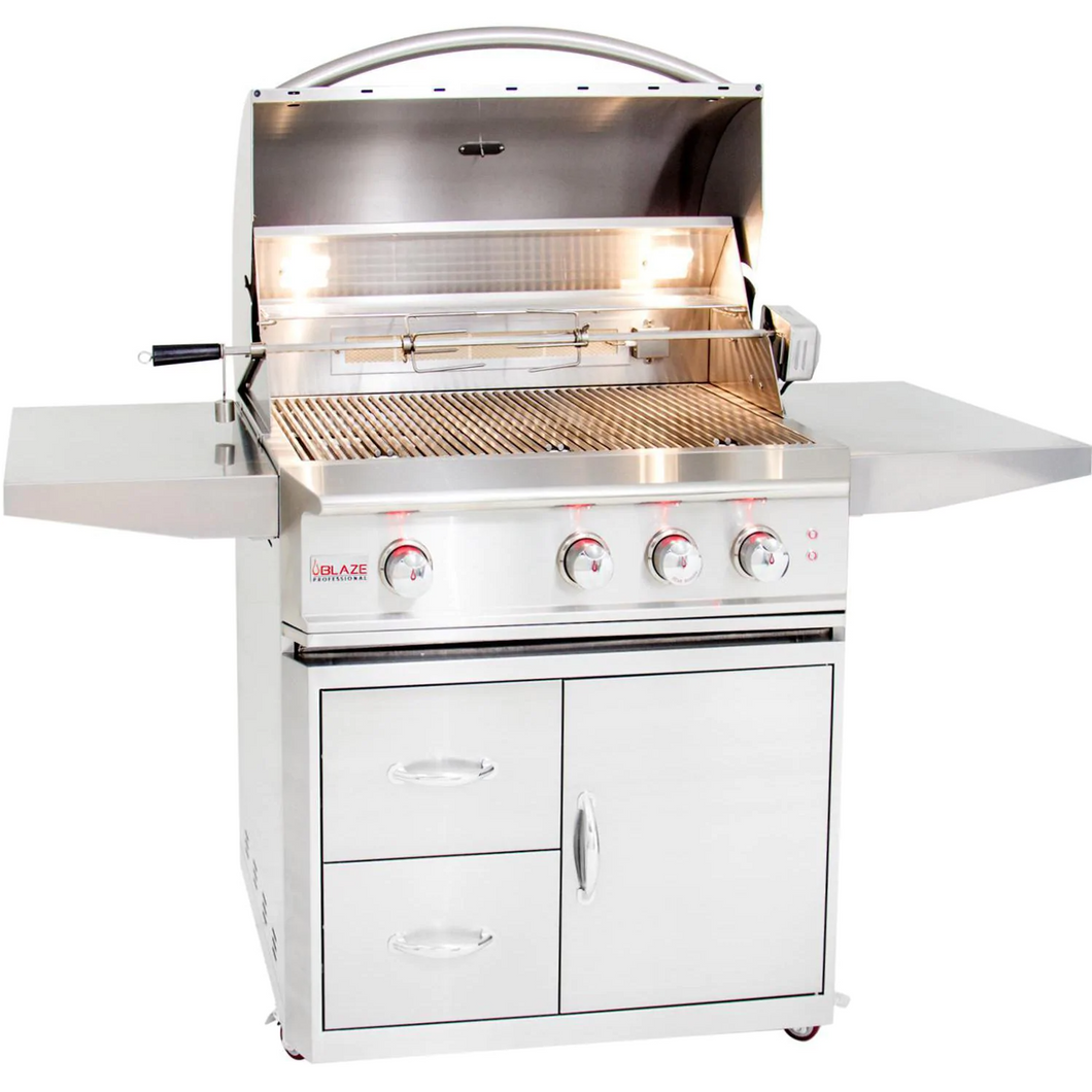 Blaze Professional 34-Inch 3-Burner Gas Grill With Rear Infrared Burner On Cart
