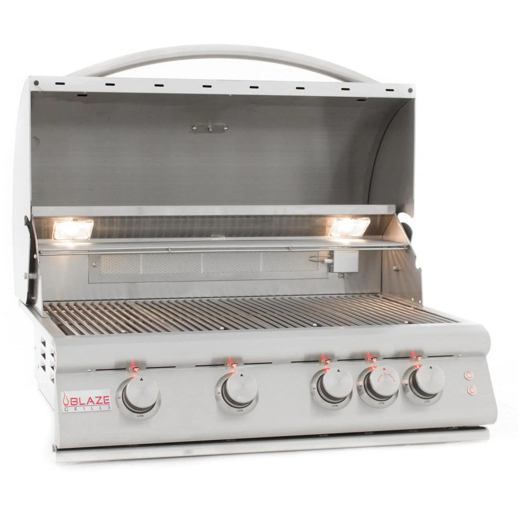 Blaze LTE 32-Inch 4-Burner Built-In Gas Grill With Rear Infrared Burner & Grill Lights