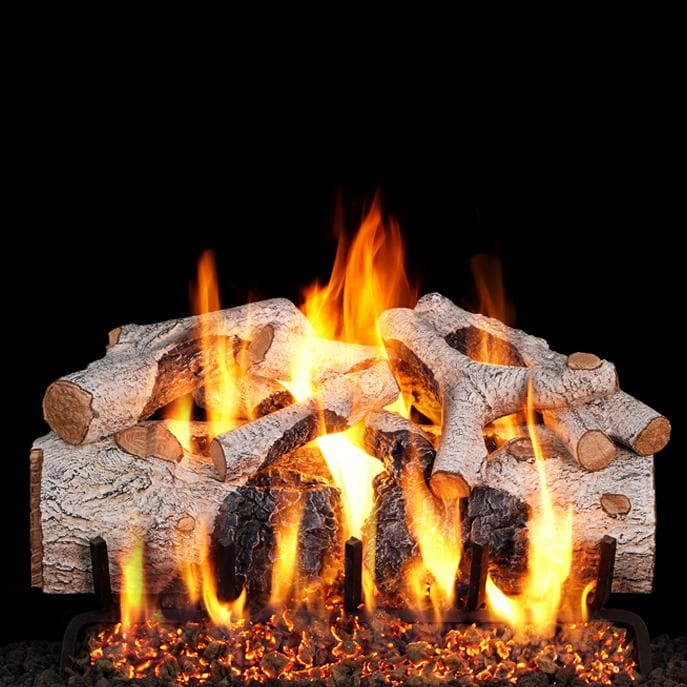 Peterson Real Fyre Charred Mountain Birch Gas Log Set With Vented ANSI Certified G46 Burner