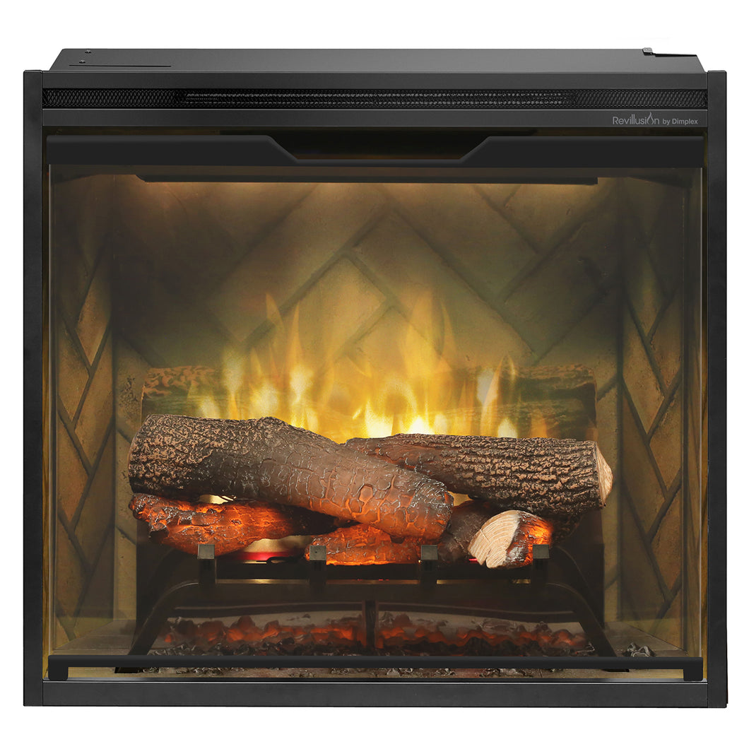 Dimplex - Revillusion 24-Inch Built-In Electric Fireplace - Herringbone Brick