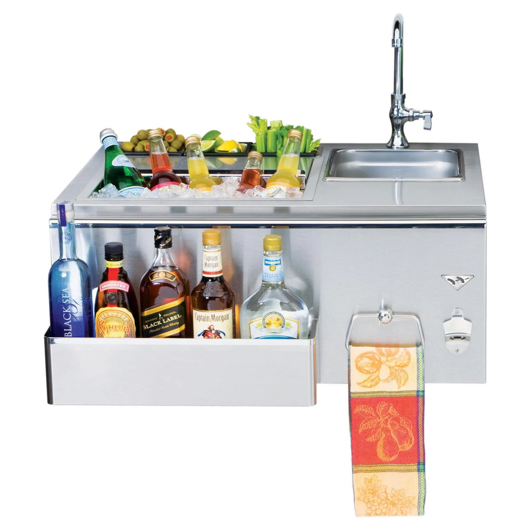 Twin Eagles 30-Inch Built-In Stainless Steel Outdoor Bar With Sink and Ice Bin Cooler