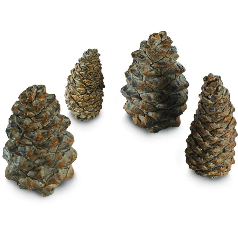Peterson Real Fyre Decorative Ceramic Pine Cones In Assorted Sizes - Set Of 4