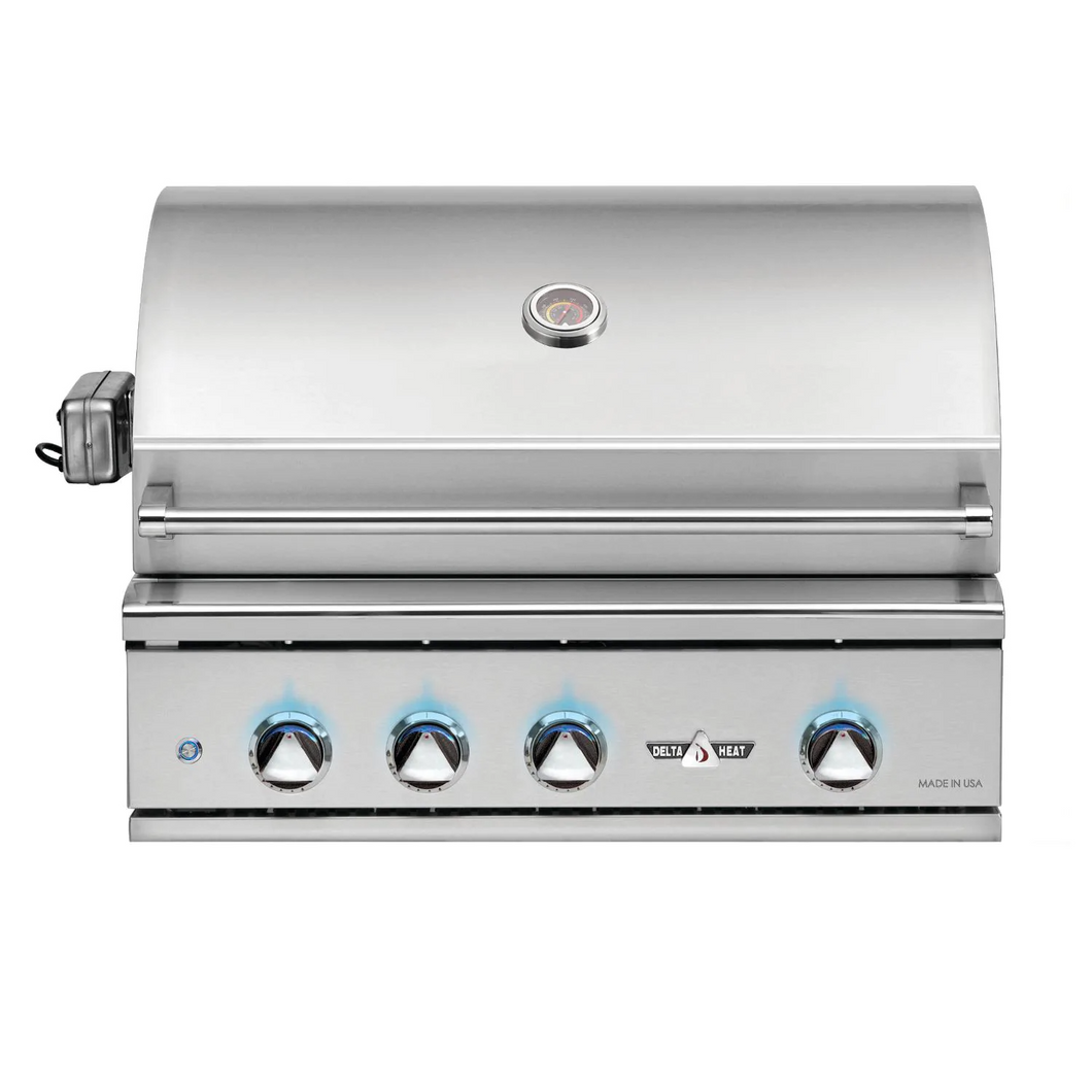 Delta Heat 32-Inch 3-Burner Built-In Gas Grill with Sear Zone & Infrared Rotisserie Burner