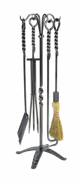 Minuteman WR-02 5-Piece Rope Fireplace Tool Set - Graphite