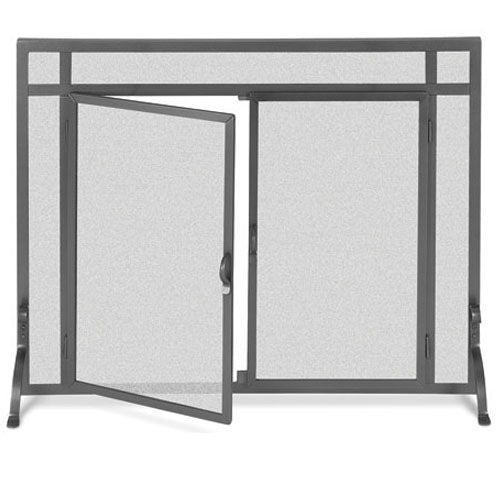 Pilgrim 44 Inch x 33 Inch Forged Iron Fireplace Screen with Straight Doors - Vintage Iron