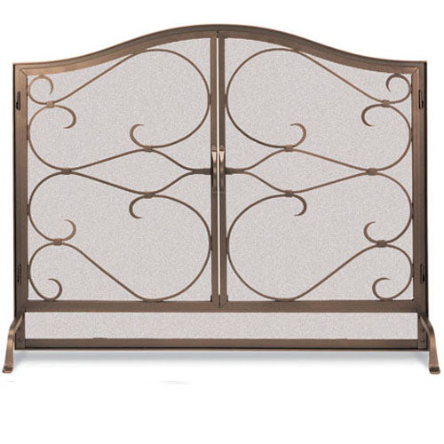 Pilgrim Burnished Bronze Iron Gate Arched Fireplace Screen with Doors - Bronze