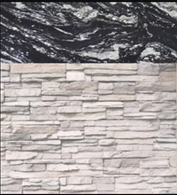 Load image into Gallery viewer, White Stacked Stone with Indian Black Countertop
