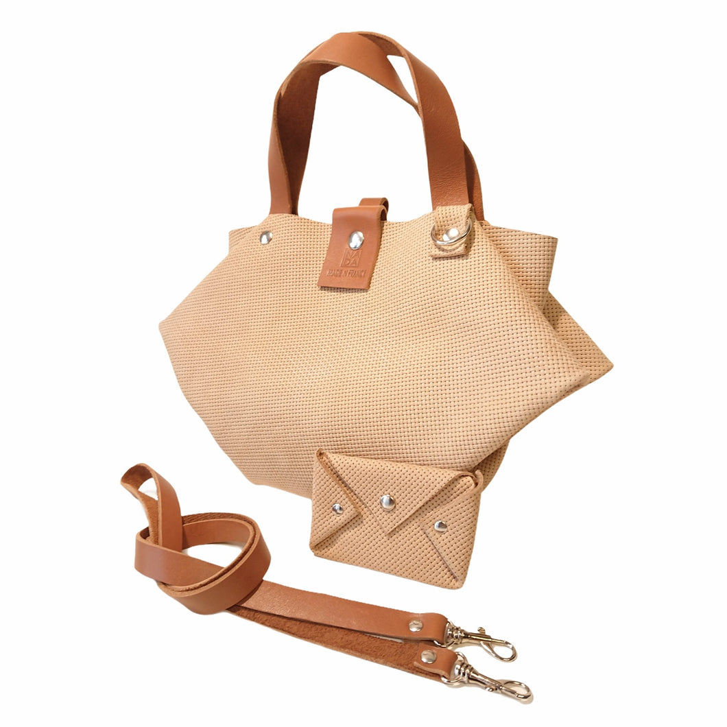 Sac Berlingo Cuir Fantasy Grained Nude Basket-Nada Bags Paris