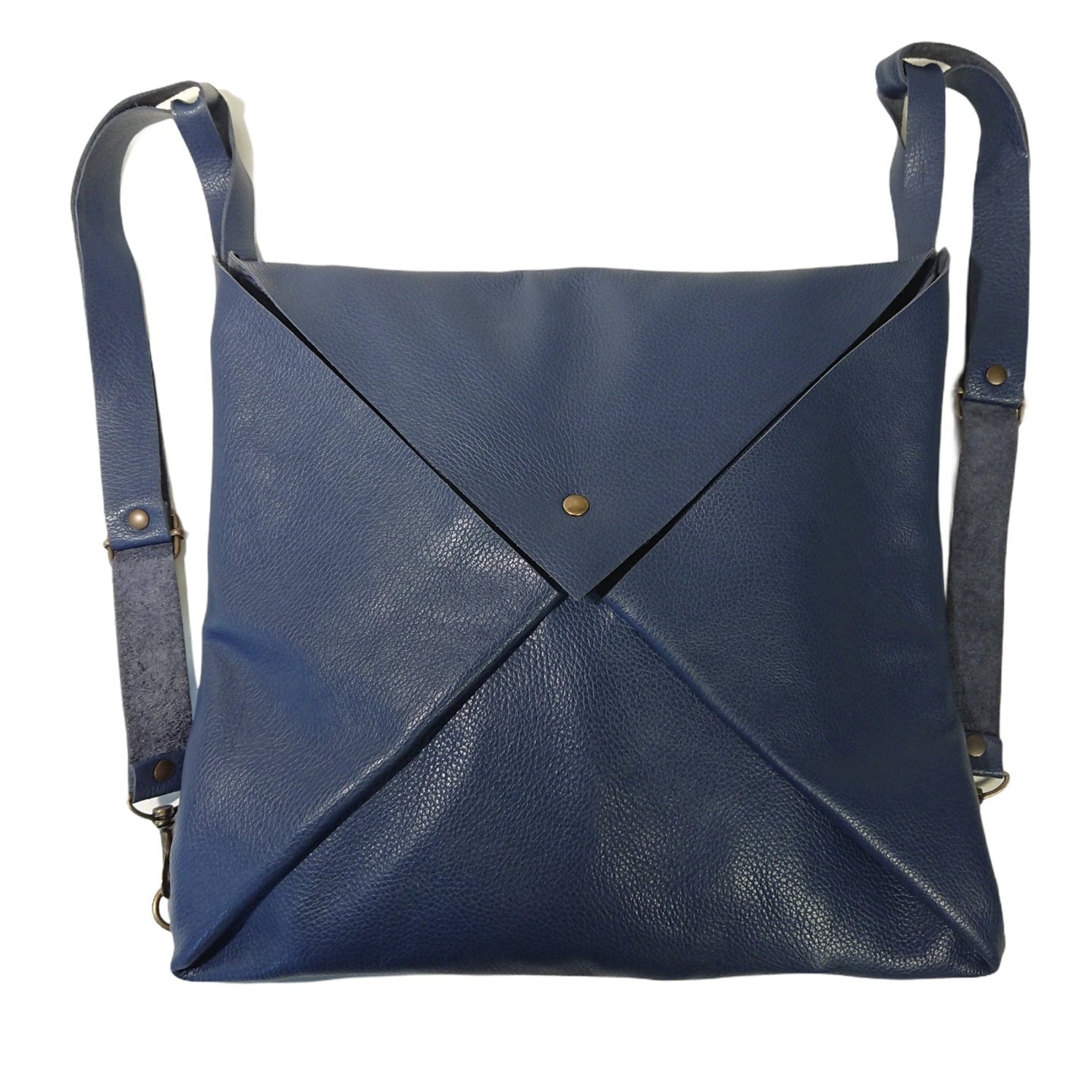 Sac Post Cuir Grained Bleu Roi-Nada Bags Paris