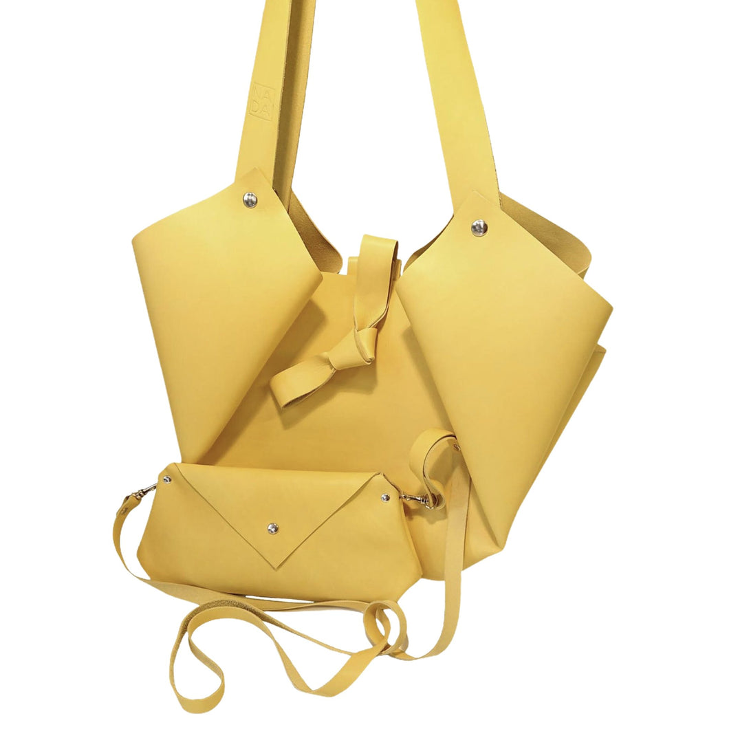 Sac Tulip Cuir Stiff Smooth Yellow-Nada Bags Paris