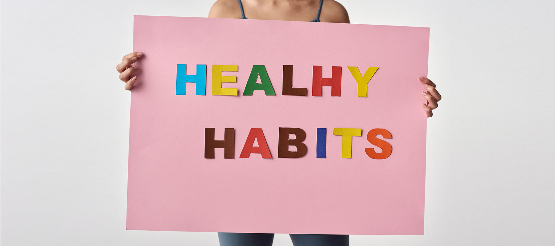 Healthy Habits Poster Woman Holding