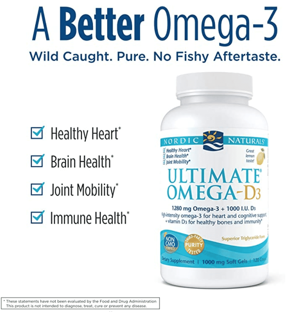 Ultimate Omega-D3, Lemon Flavor |  Non-GMO, Gluten- & dairy-free | 60-day supply (120 softgels)