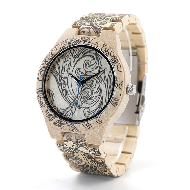Tatto Print Wooden Watches Mens All Maple