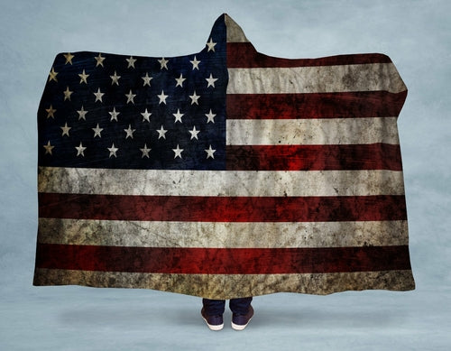 Distressed American Flag Hooded Blanket