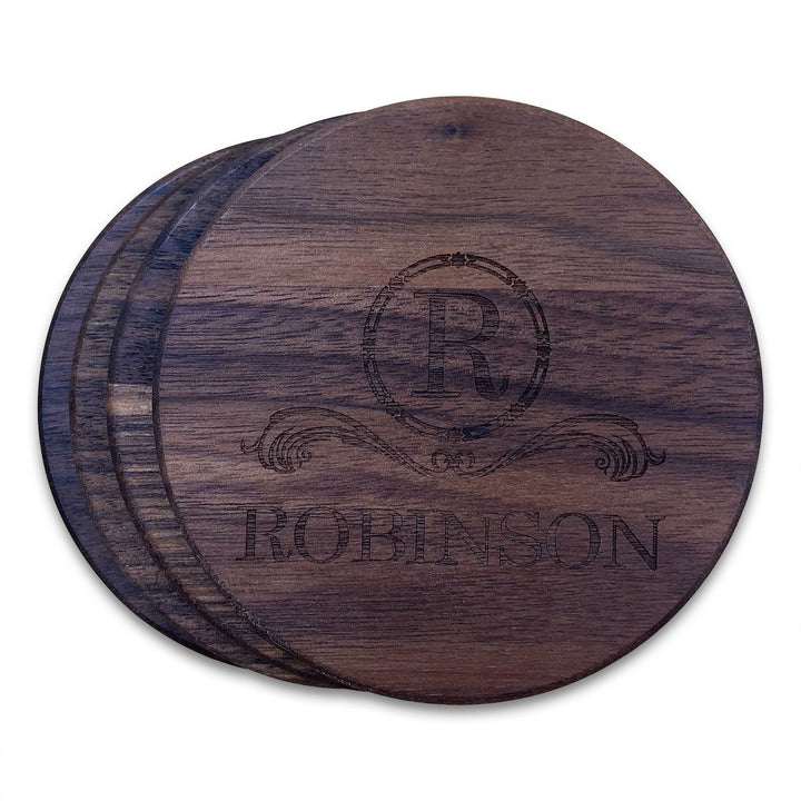 Personalized Walnut Wood Round Coasters (4