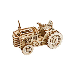 LK401 DIY Laser-Cut 3D Wooden Puzzle Mechanical Windup: Tractor