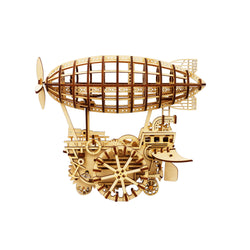 LK702 DIY Laser Cut Wooden Puzzle Mechanical Windup: Air Vehicle