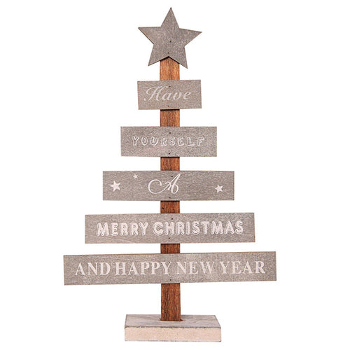 Mini Wooden Merry Christmas Tree Desk Table Decor