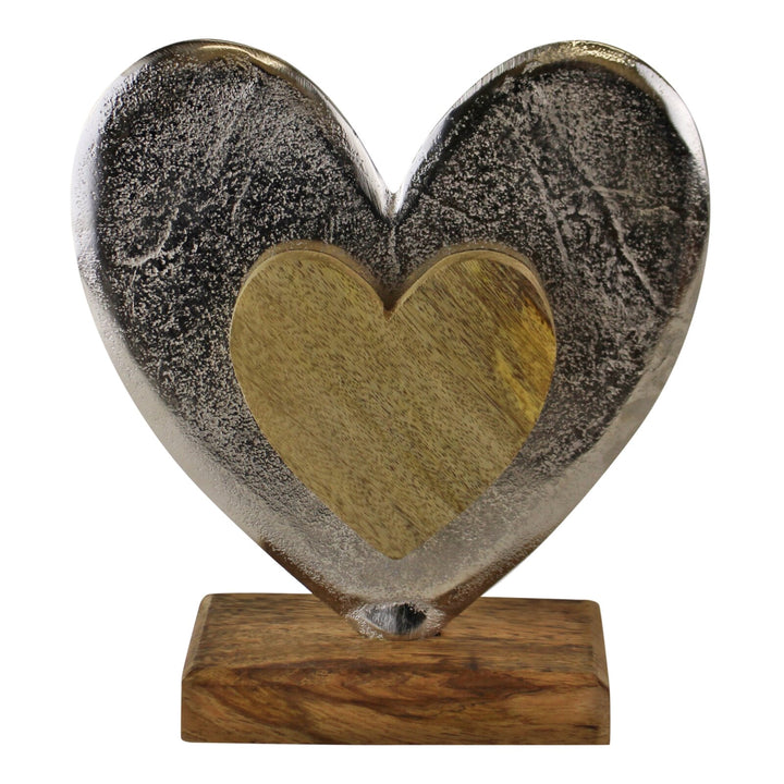Large Metal and Wood Standing Heart Decoration