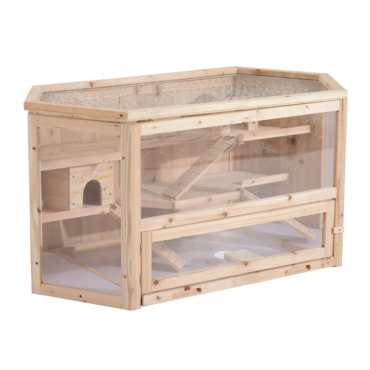 PawHut Big Hamster Cages Fir Wood Hamster Cage Mouse Rats Small Animal