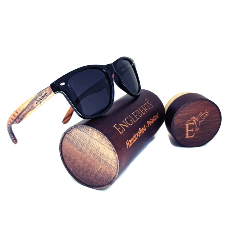 Zebrawood Sunglasses, Stars and Bars With Wooden Case, Polarized,